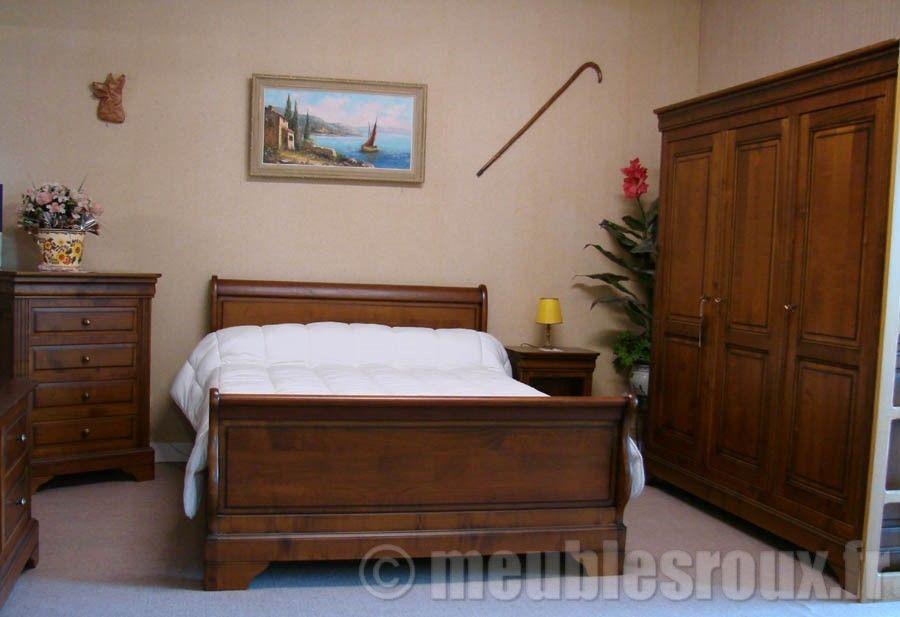 Chambre Louis Philippe en merisier comprenant Lit en 1,40 m x 1