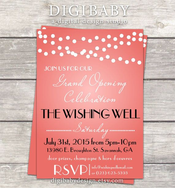 Event lights Open House Grand Opening invitation by DigiBabyDesign - fresh invitation unveiling of tombstone