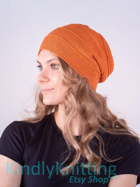 5da3f1a9513cd Slouch beanie hat for womens Summer crochet silk beanie hats soft Slouchy  chemo beanie hats women fo