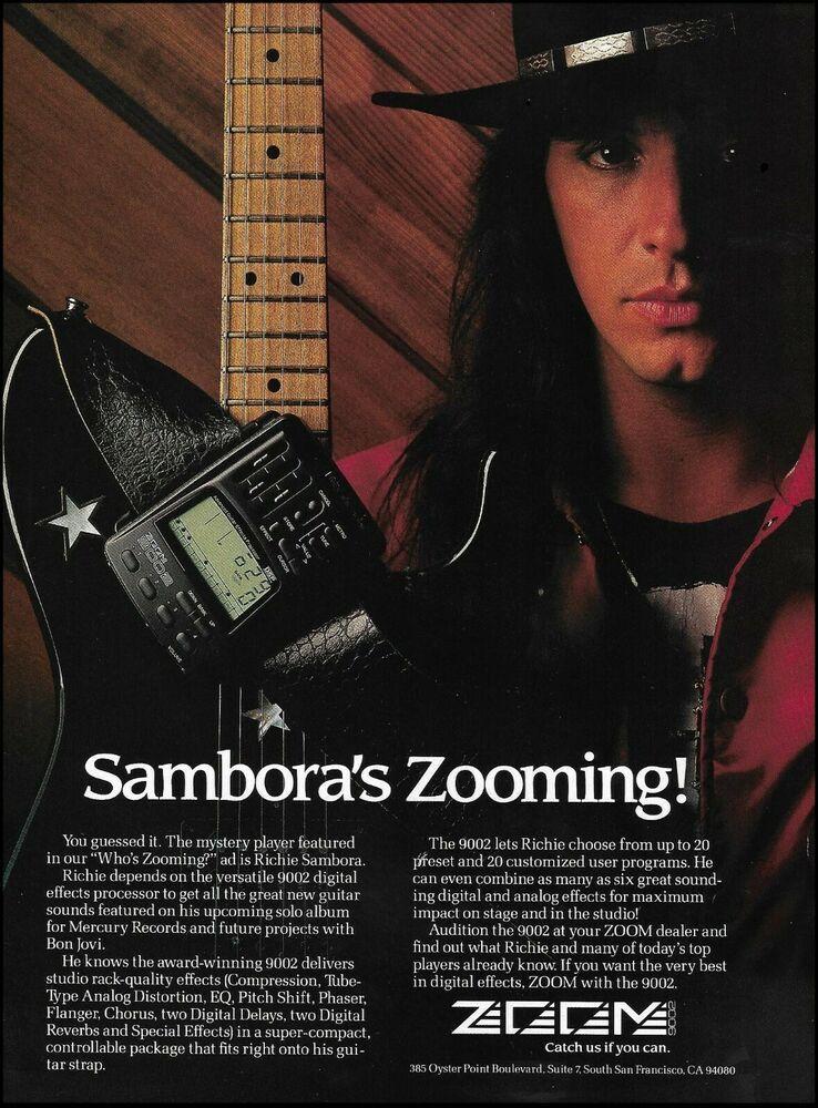 Bon Jovi Richie Sambora 1991 Zoom Guitar Processor Ad 8 X 11 Advertisement Print Zoom In 2020 Bon Jovi Let It Be Guitar