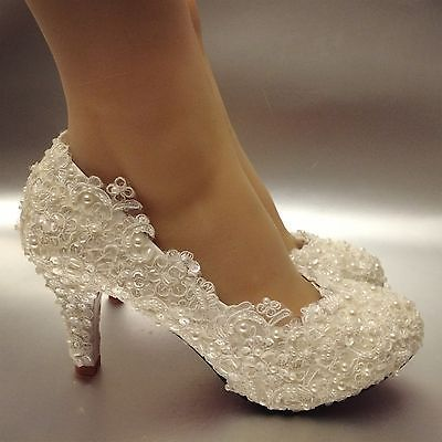 029ec21b1b92 Lace white ivory pearls Wedding shoes Bridal flats low high heel pumps size  5-12