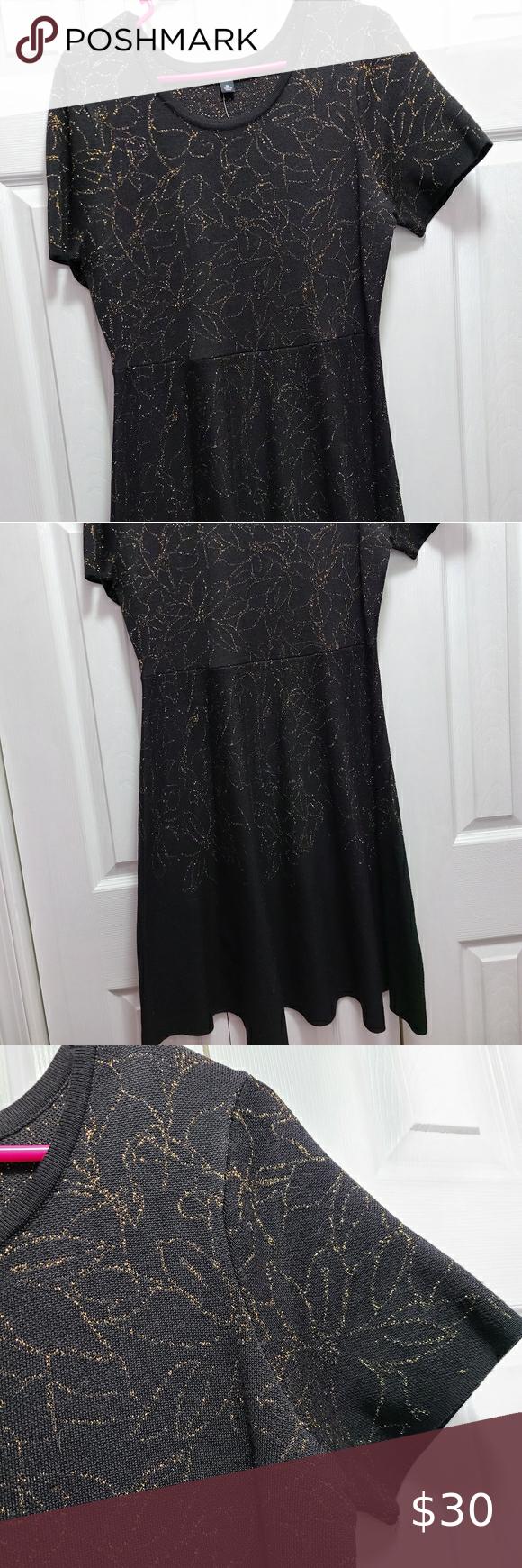 Nwt Black And Gold Dress Xl Black Sweater Dress Gold Dress Xl Dress [ 1740 x 580 Pixel ]