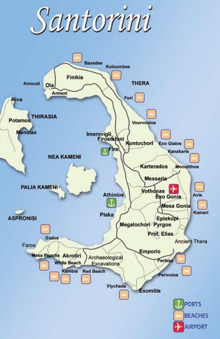 Santorini tourist map Maps Pinterest Tourist map Santorini
