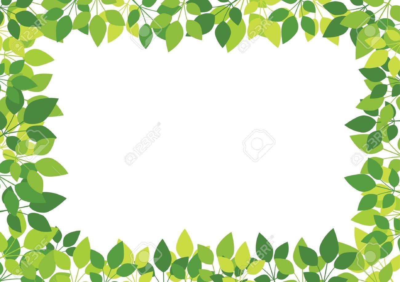 Vector Green Leaves On White Clip Art Borders Clip Art Leaf Clipart