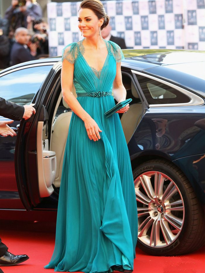 Kate in a jade green Jenny Packham at the May 2012 BOA Olympic Concert in London.