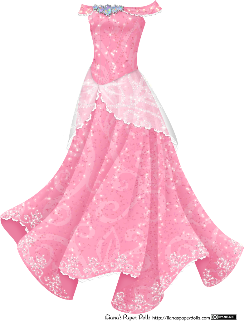 Pink Princess Gown with Opals at Liana's Paper Dolls. Free printable PDFs and full post at the site!