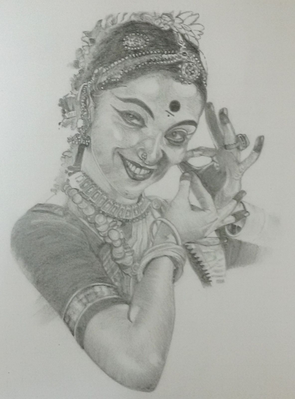 Pencil sketch of an indian girl traditional dancing women my