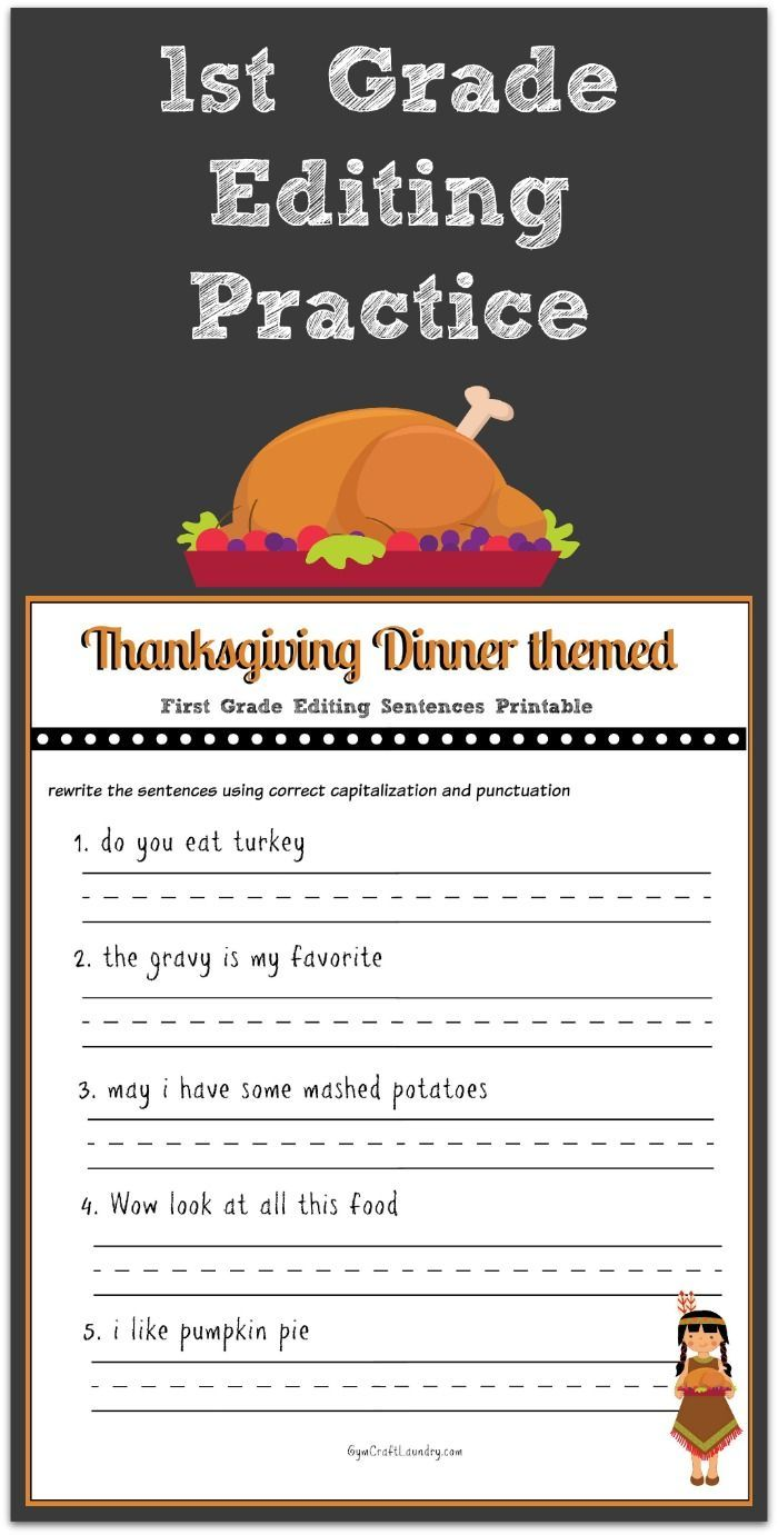 Thanksgiving 1st Grade Editing Printable  Writing skills  free worksheets, learning, alphabet worksheets, and grade worksheets Free Sentence Correction Worksheets 1381 x 700