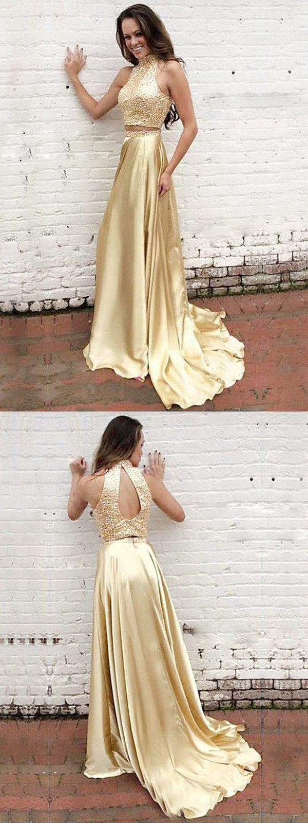 two piece prom dress a line gold long cheap prom dress vb