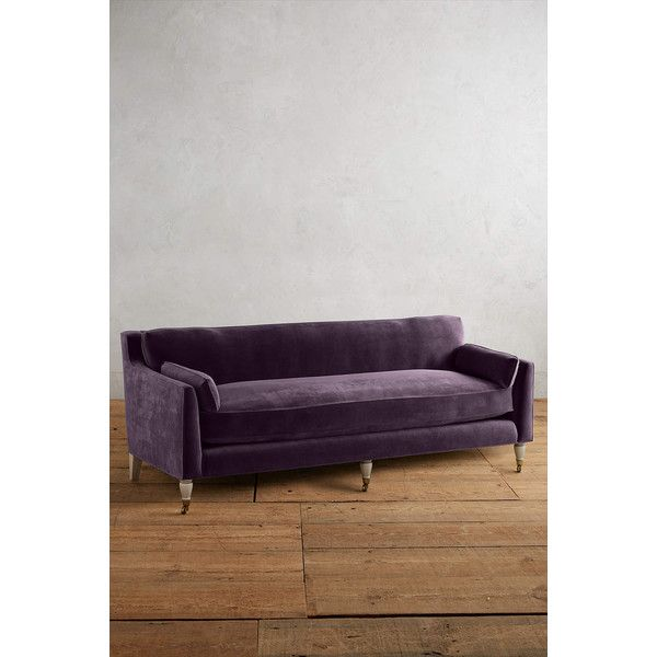 dark purple furniture. Anthropologie Velvet Leonelle Petite Sofa (2,995 CAD) ❤ Liked On Polyvore Featuring Home, Dark Purple Furniture