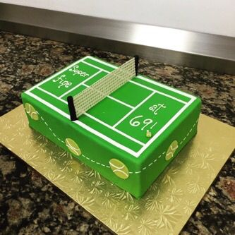 Fabulous Tennis Court Birthday Cake Normanloveconfections Com Tennis Cake Personalised Birthday Cards Veneteletsinfo