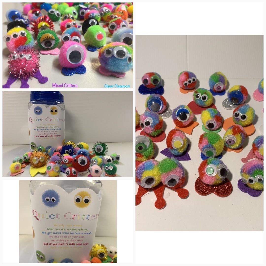 Mixed colours Classroom Quiet Critters - pompom creatures to use for classroom behaviour Mixed col