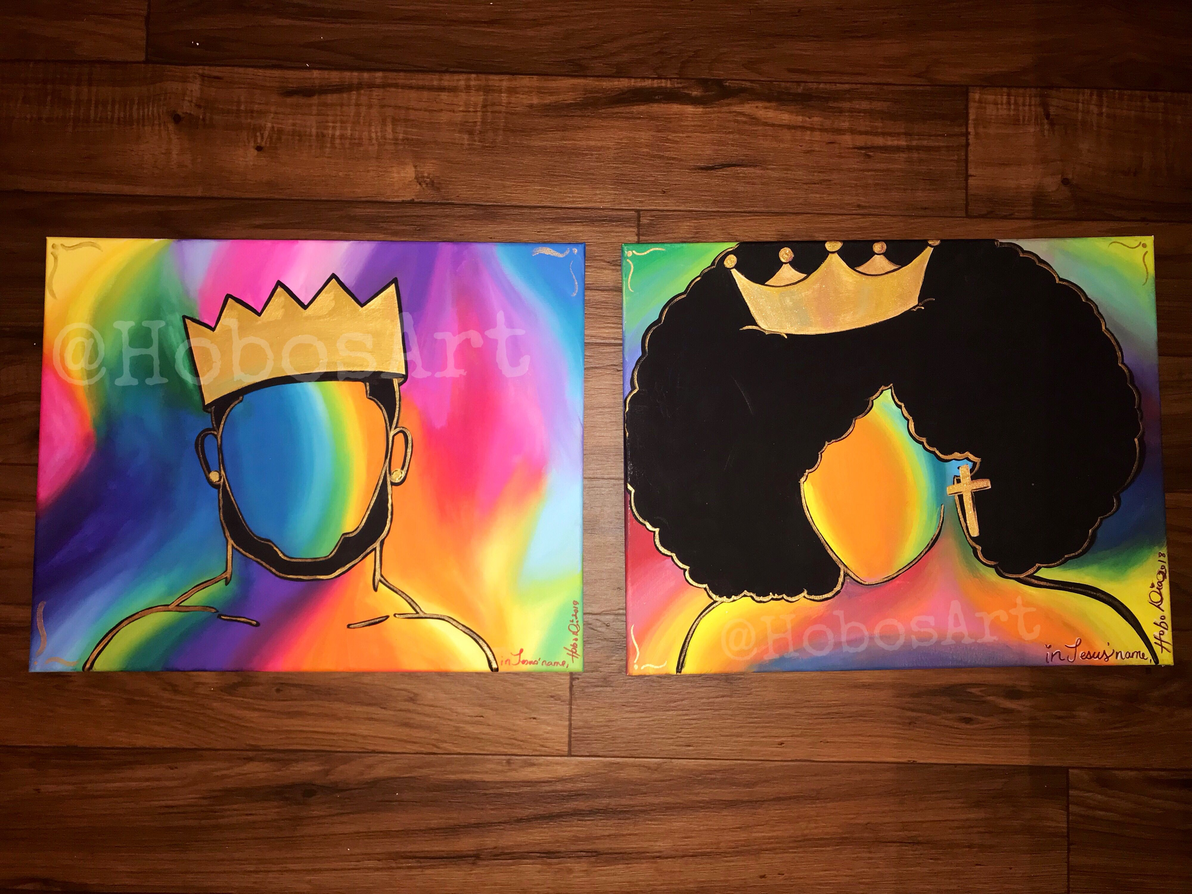 Black King And Queen Painting Set Etsy Black Art Painting Couples Canvas Painting King Painting