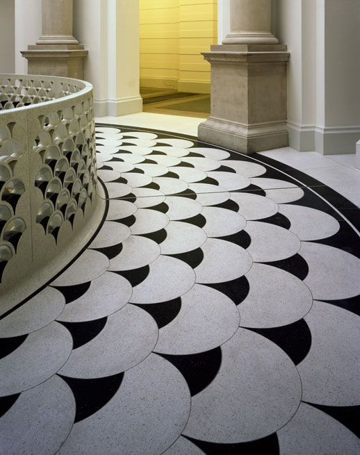 Japanese Wavy Pattern On Balustrade And Floor Radial