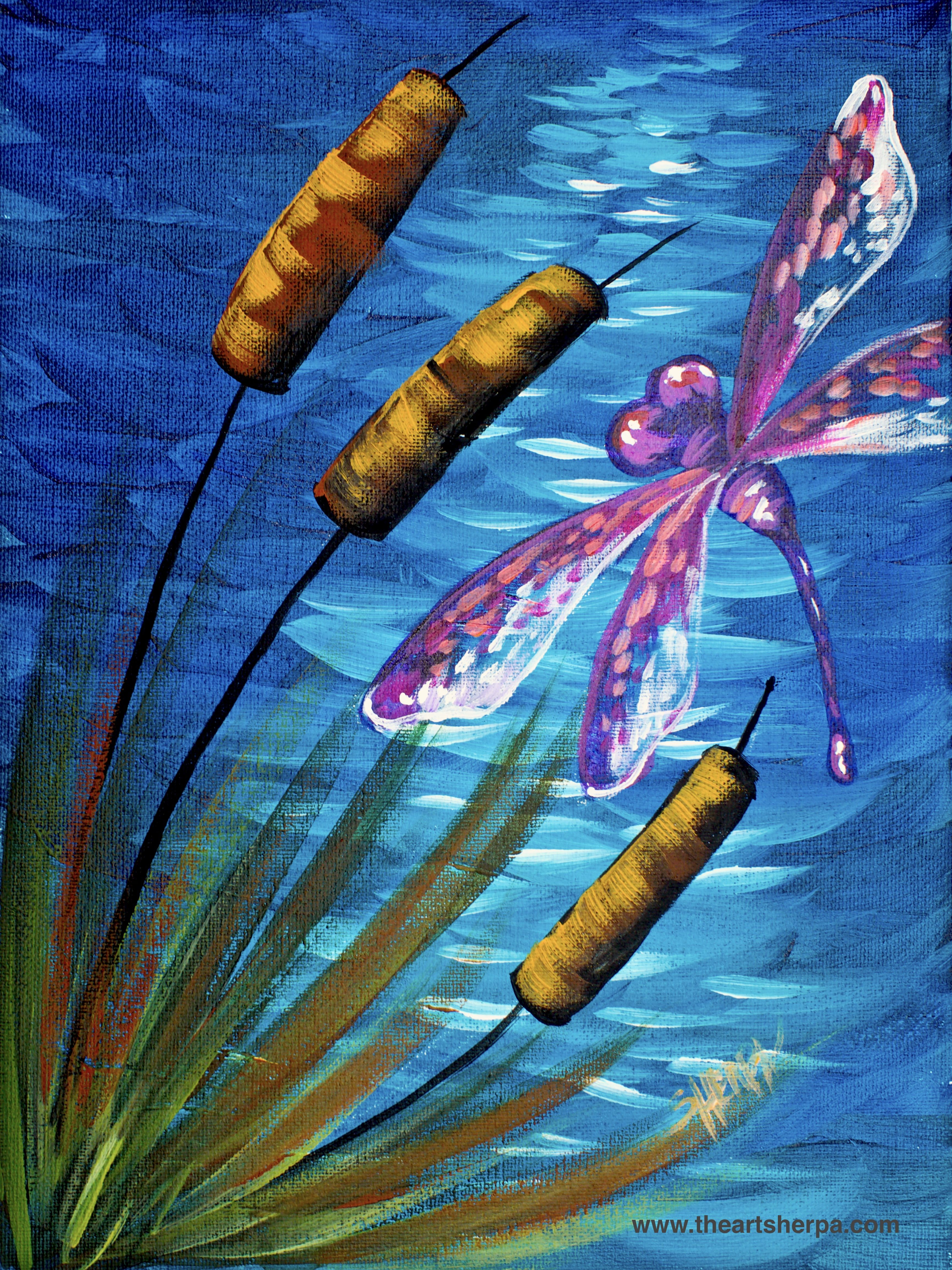 Dragonfly Pond Easy Beginner Acrylic Painting Tutorial # ...