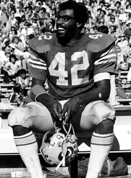 The great Chuck Muncie, the best player in college football in 1975, enjoying the view in Strawberry Canyon.