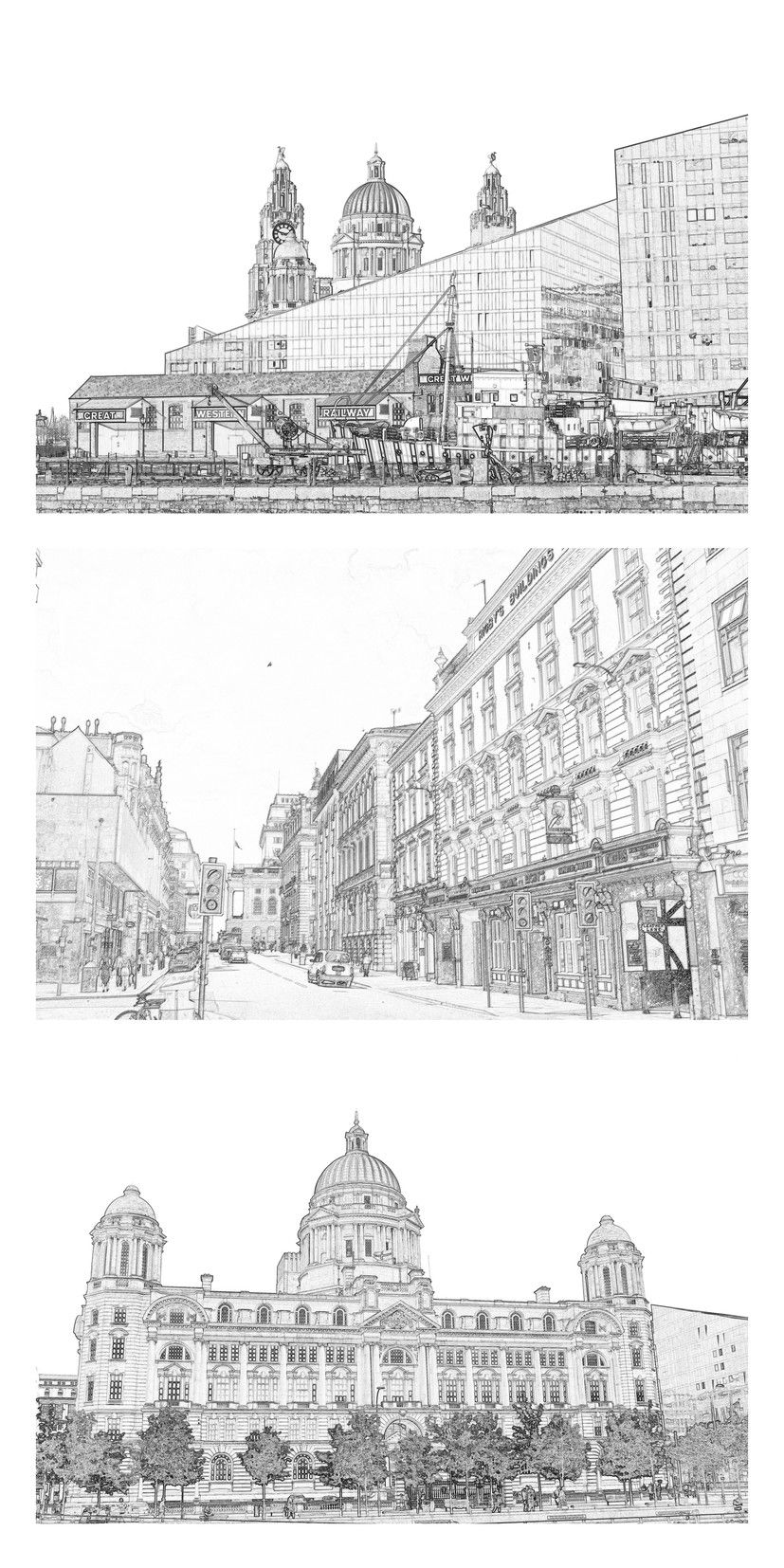 Liverpool Greyscale Colouring Book Download 6 Illustrations