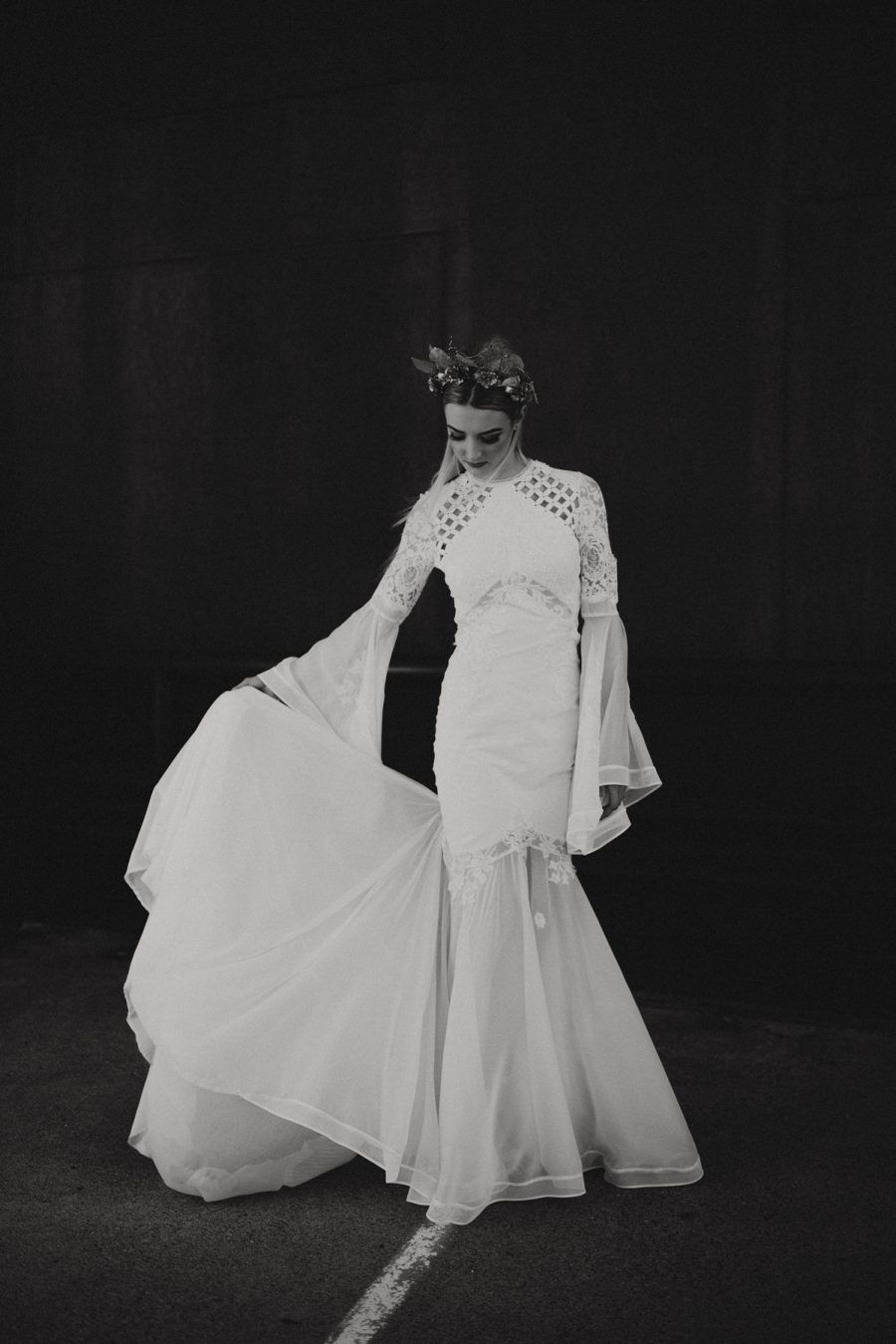 romantic long sleeve lace wedding dress by Judy Copley Couture