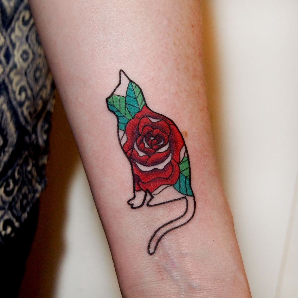 Rose Cat by Jessica Channer at Tattoo People, Toronto ON -------- As much as I love the cat, is there a different shape that would work as an in memorium better?