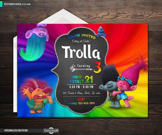 Trolls Birthday Invitation Troll