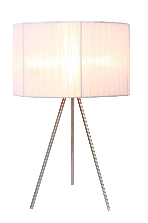Simple Designs LT2006WHT Brushed Nickel Tripod Table Lamp