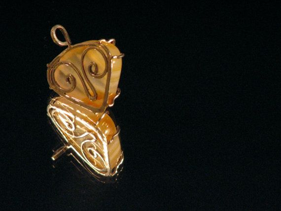 Yellow Agate Horned Backing Sterling Silver two sided Pendant Taurus Aries