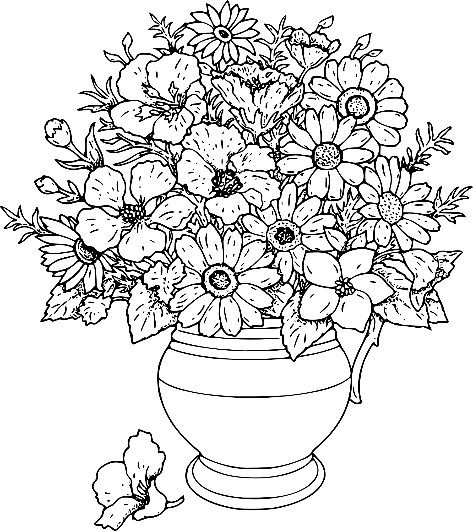 Colouring in pictures of flowers - Line Art Flowers Vase Of Wild Flowers Black White Line Art Coloring Book Colouring