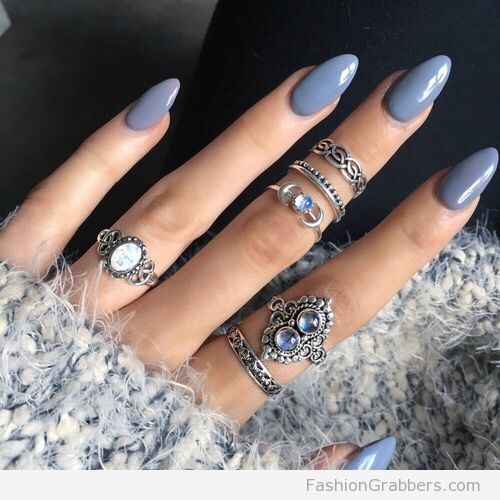 winter nail colors in grey shade, midi and skinny rings \u2026 in