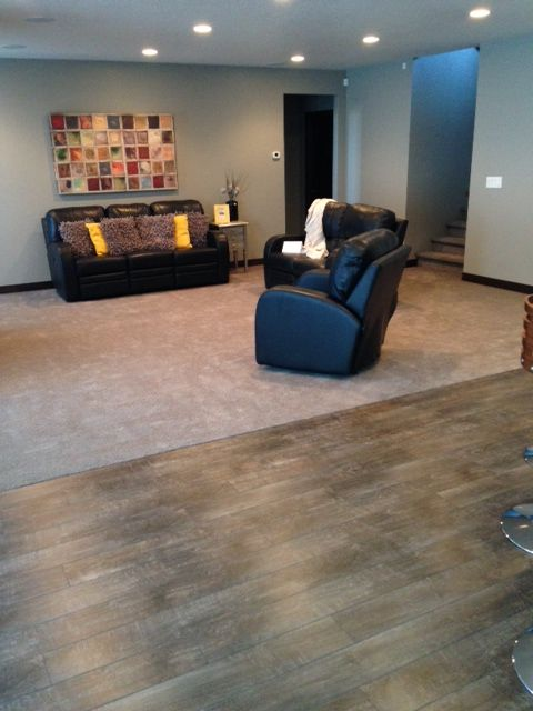 Carpet To Laminate Transition Small Basement Remodel Carpet To