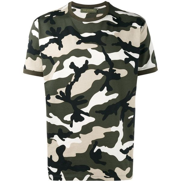 Valentino Rockstud camouflage T-shirt ($595) ❤ liked on Polyvore featuring men's fashion, men's clothing, men's shirts, men's t-shirts, green, mens short sleeve shirts, mens cotton t shirts, mens camouflage shirts, mens short sleeve cotton shirts and mens green shirt