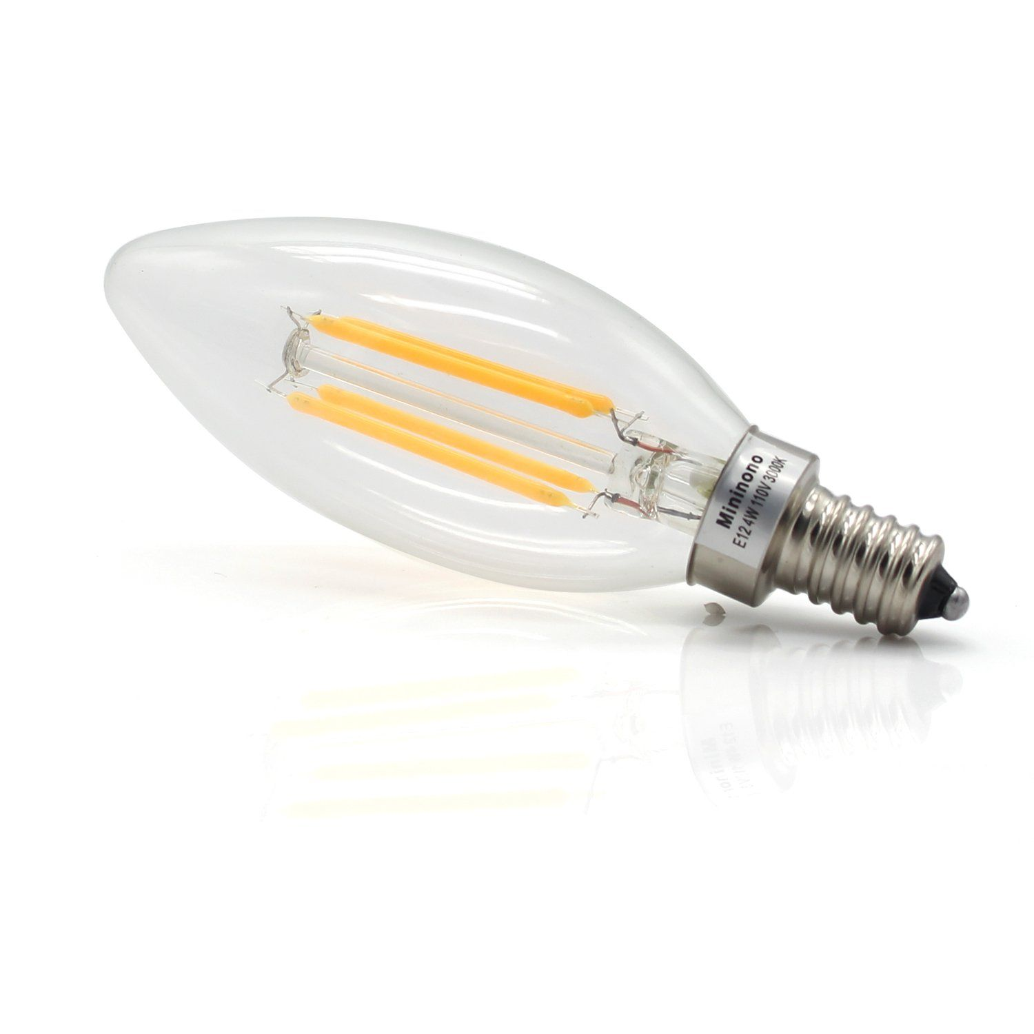 Mininono Led Filament Bulbs E12 Candelabra Base Dimmable 4w 40w Equivalent E12 C35 Candle Edison Light Bulb 2700k W Light Bulb Filament Bulb Edison Light Bulbs