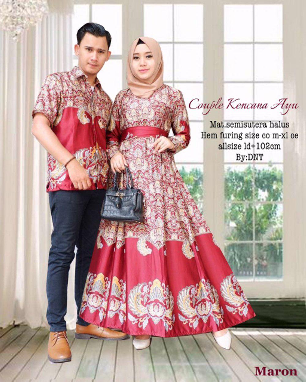 Setelan Model Baju Batik Couple Semi Sutra Kencana Ayu Warna Merah