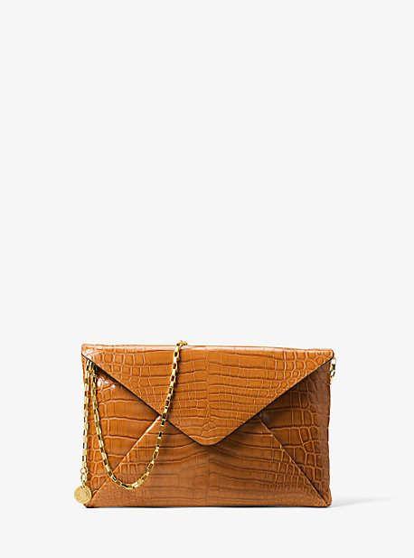 61c8c6861917 Michael Kors Runway Crocodile Envelope Clutch | Products | Envelope ...
