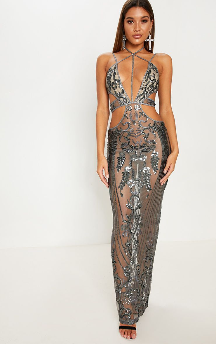 79243bab7805 Silver Sequin Sheer Plunge Cut Out Maxi Dress in 2019 | Closet ...
