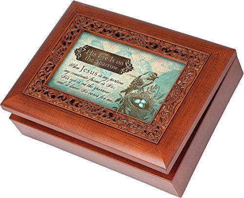 His Eye Is On The Sparrow Cottage Garden Rich Woodgrain Finish with Ornate Inlay Jewelry Music Box - Plays Song His Eye Is On The Sparrow *** Learn more by visiting the image link.