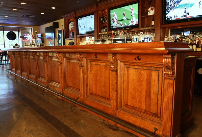 Wonderful Bar Front Panel With Vertical Fluted Trim Beneath Corbels