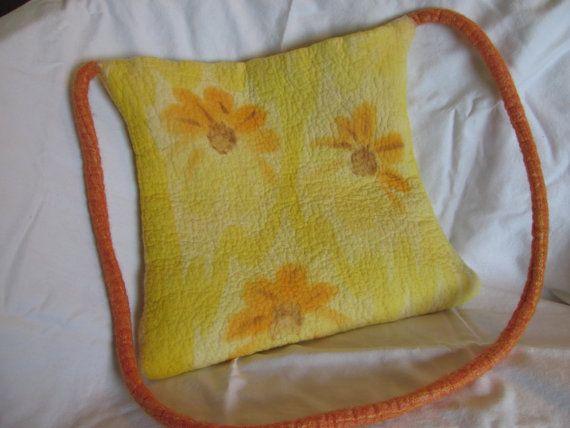 Unique Nuno Felt Handbag with Upcycled ★ by ZanieCraftsFeltedArt