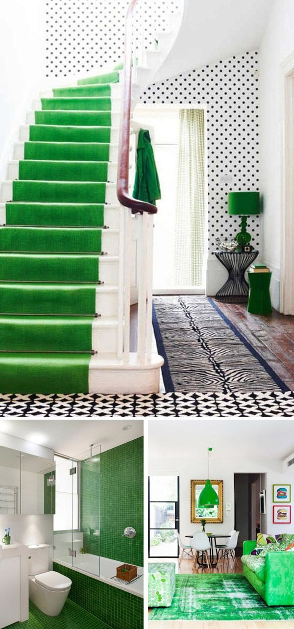 Love This Bathroom Emerald Modern Interiors Green But Solid Carpet Runner Color In Bath Tiles Just Pops Of