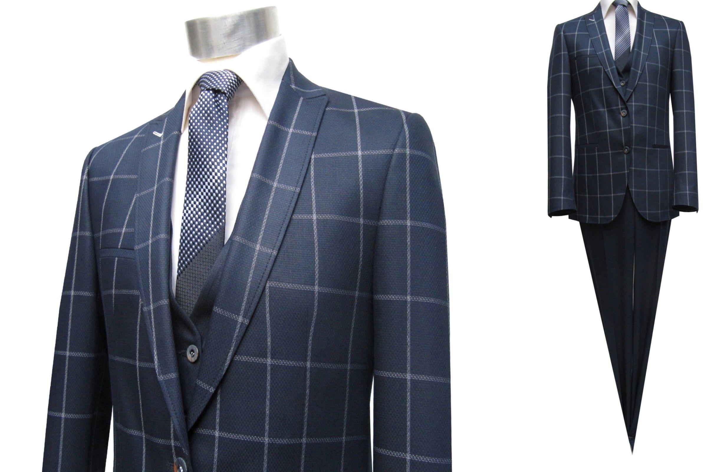 Karierter Anzug Herren Blau Karierter Anzug Anzug Herren Anzug