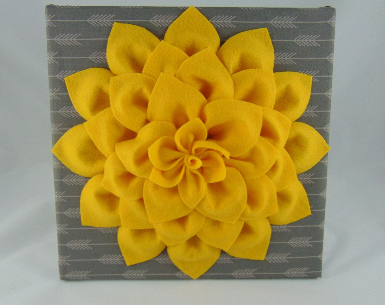 Yellow Flower on Grey Arrow Fabric Wall Hanging - Nursery Decor ...