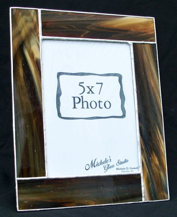 5x7 dark brown stained glass picture frame