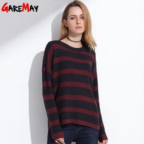 2018 rayas tamaño de punto Tallas Suéter Jerséis Mujer grandes gran  Primavera largo Suéter Tops prendas ... 598ef3e25ddf