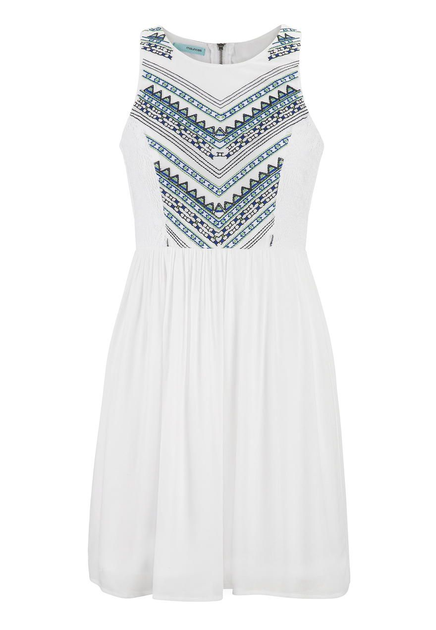 white dress with embroidery and lace - maurices.com | summer time ...