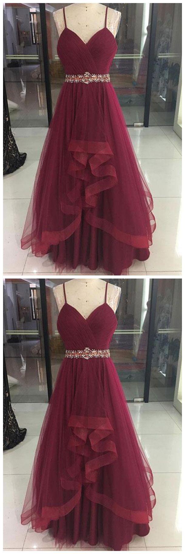 Sexy burgundy vneck tulle prom dressspaghetti straps burgundy