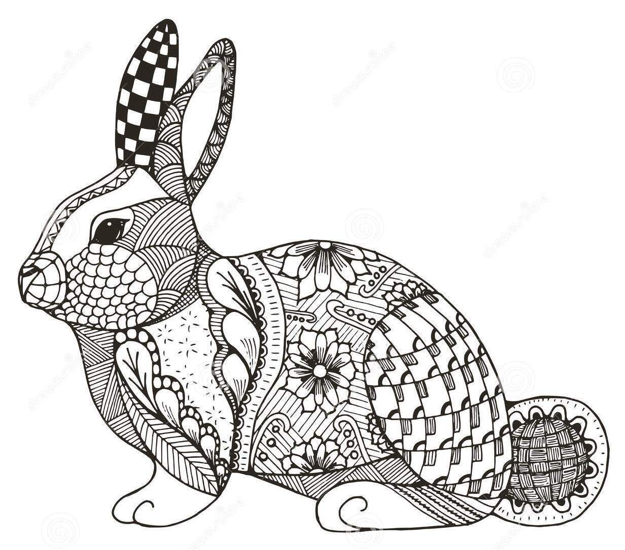 Zentangle Rabbit Abstract Coloring Page In