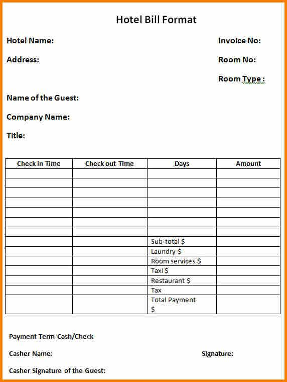 4 Bill Format For Hotel Simple Bill Invoice Format Receipt