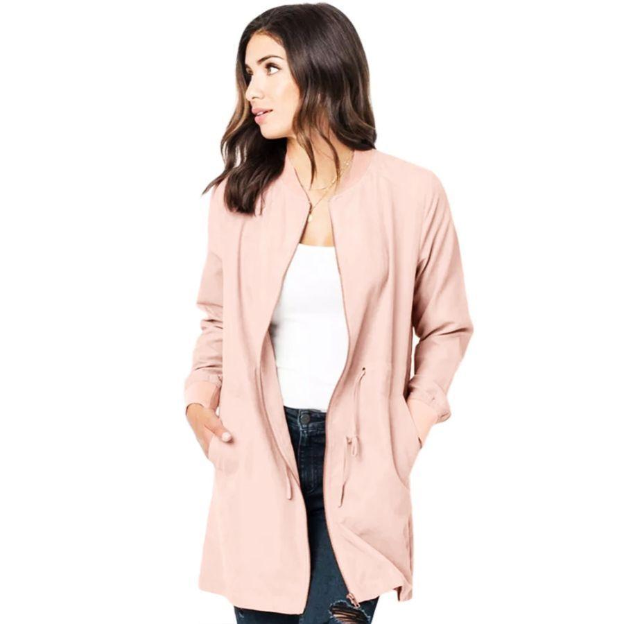 Women S Jackets Plus Size Causal Windbreaker Zipper Retractable Waist Cord Adjustable Pocket En 2020 Abrigos De Mujer Cortavientos Ropa De Mujer