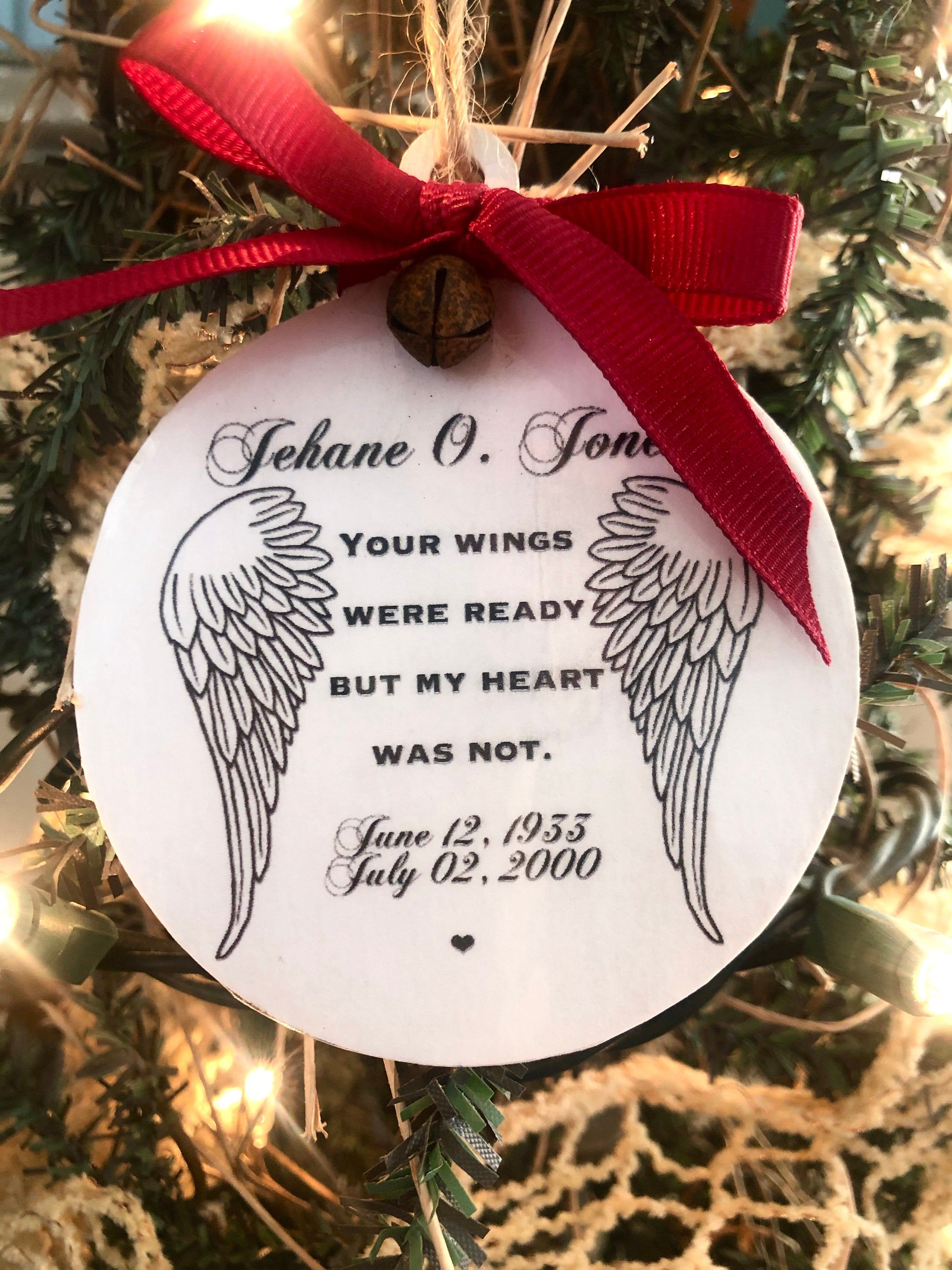 2020 Memorial Ornament Your Wings Were Ready Ornament Family Memorial Christmas Ornament C Custom Christmas Ornaments Memorial Ornaments Christmas Ornaments
