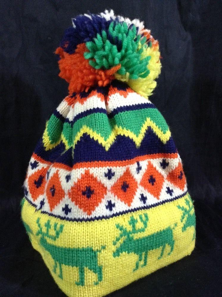 c825a161 Vintage ARIS Ski Hat Pom Pom Beanie Ugly Christmas Cap Winter 100% Wool #CAP  #Beanie