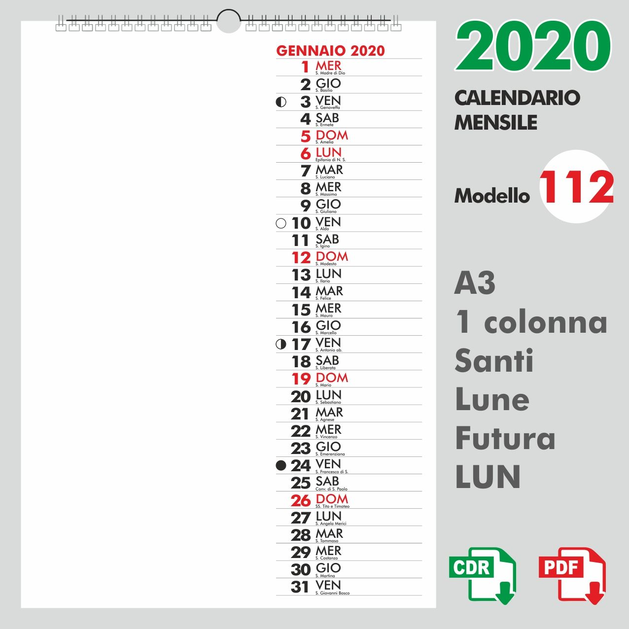 Calendario 2020 Pdf Stampabile.Calendario 2020 Mensile Giorno Scritto Abbreviato Tipo Lun